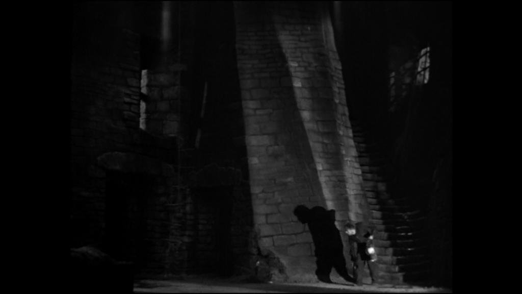The set of Frankenstein with harsh angles and shadows