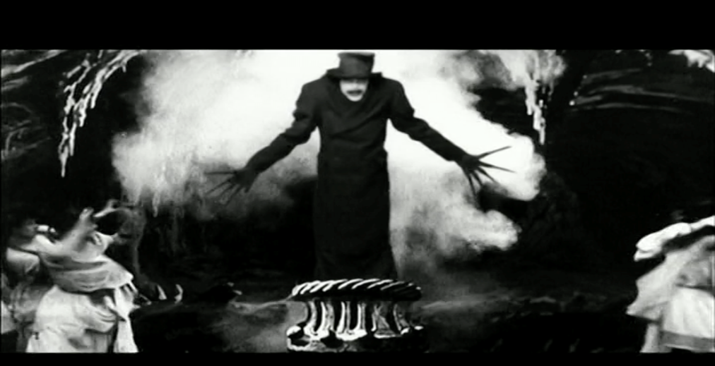 The Babadook in a silent film on TV