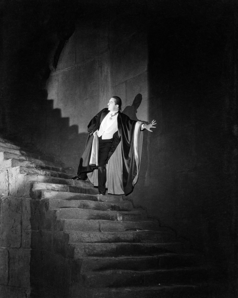 Dracula on his castle stairs