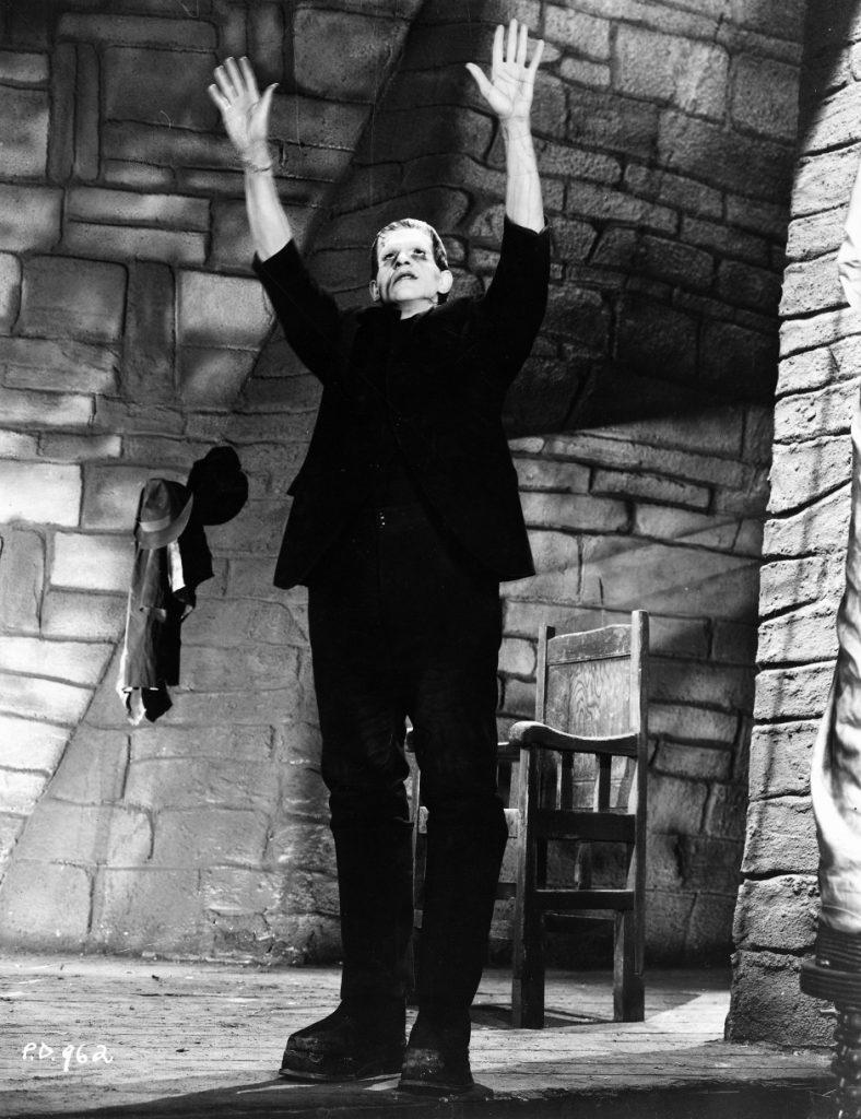 Frankenstein's monster on the stylised set