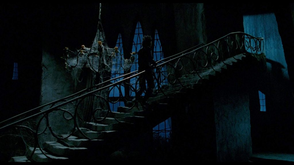 The stair case of the inventor's home in Edward Scissorhands