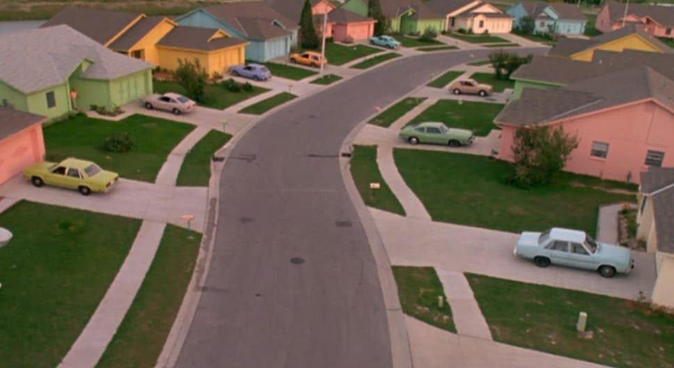 The pastel neighbourhood in Edward Scissorhands