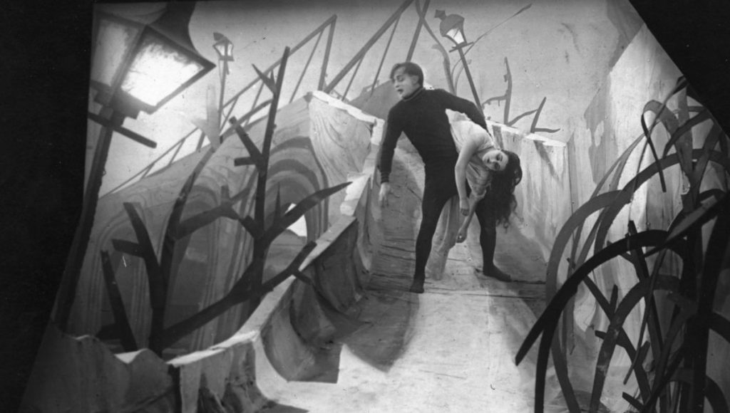 Cesare and Jane on the bridge in The Cabinet of Dr Caligari