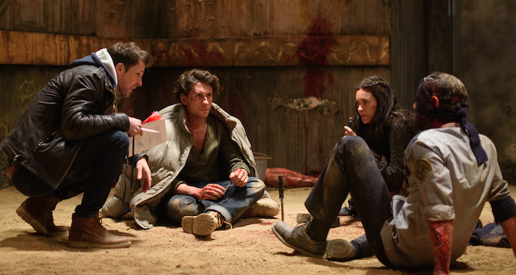 Giles on set of The Dare with Bart Edwards, Alex Evans and Richard Short