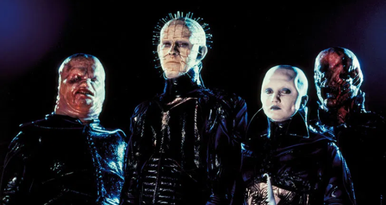 Still of the Cenobites from Hellraiser, based off The Hellbound Heart novel.
