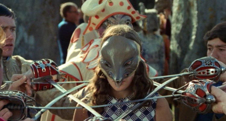 Still of the masked villagers in The Wicker Man