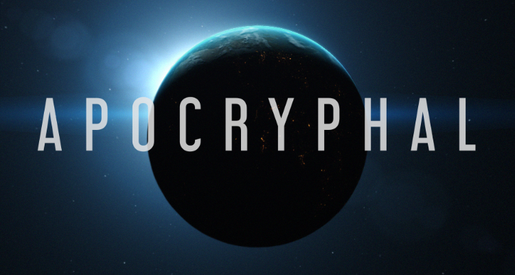 Apocryphal concept poster with a dark planet.