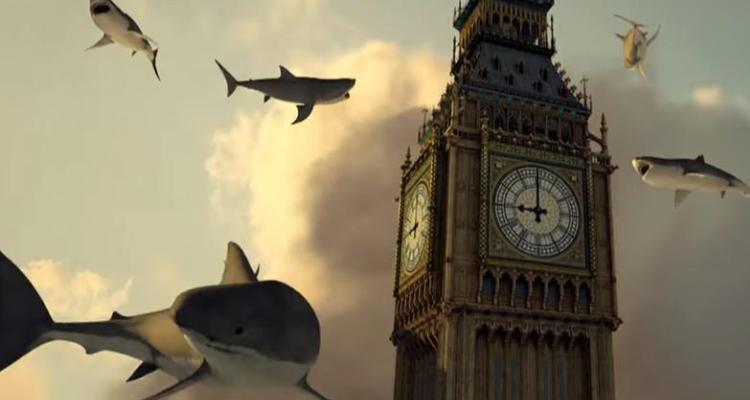 A swarm of sharks surrounding Big Ben