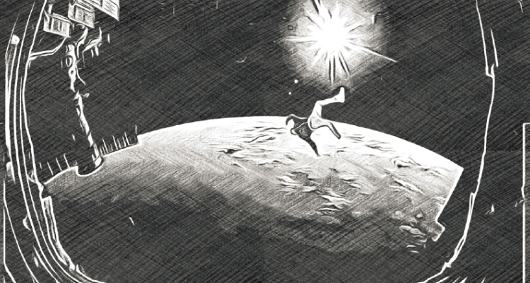 Illustration of a man in space from The Haunter of the Mausoleum