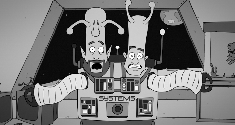 The two-headed alien in Man on the Moon.