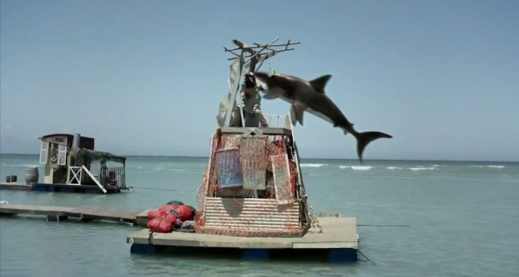 Shark attacking a shanty town in Planet of the Sharks
