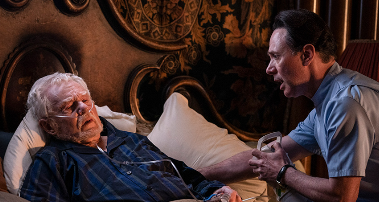 Steve Pemberton and Derek Jacobi talking in his bed in How Do You Plead?.