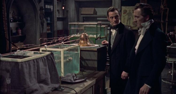 Dr Kleve and Frankenstein amongst the lab equipment in The Revenge of Frankenstein.