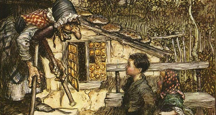 Old drawing of Hansel and Gretel with the witch.