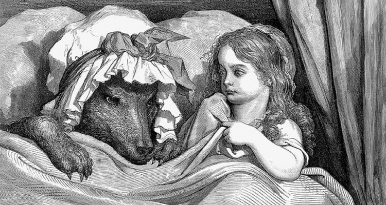 Old drawing of Red Riding Hood with the wolf.