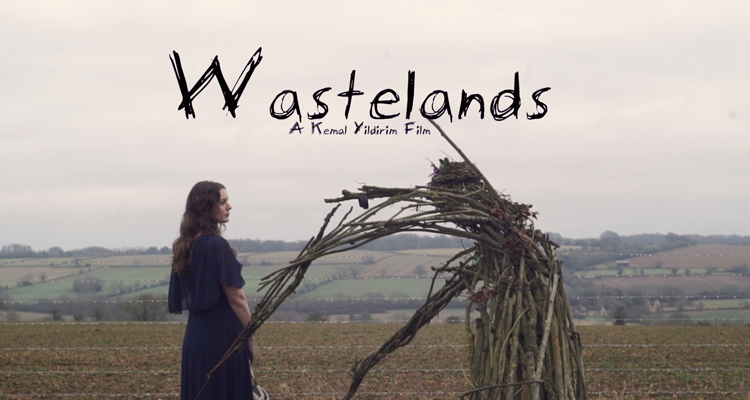 Poster for Wastelands. Young woman standing in front of a human shaped straw figure.