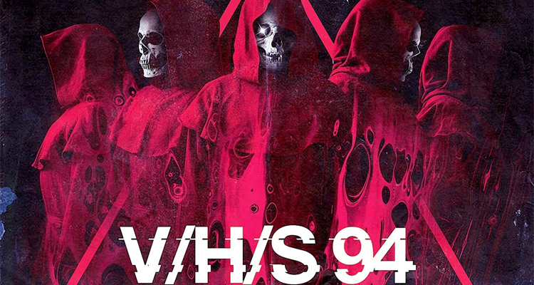 A group of skeletons dressed in red robes.Poster for V/H/S/94.