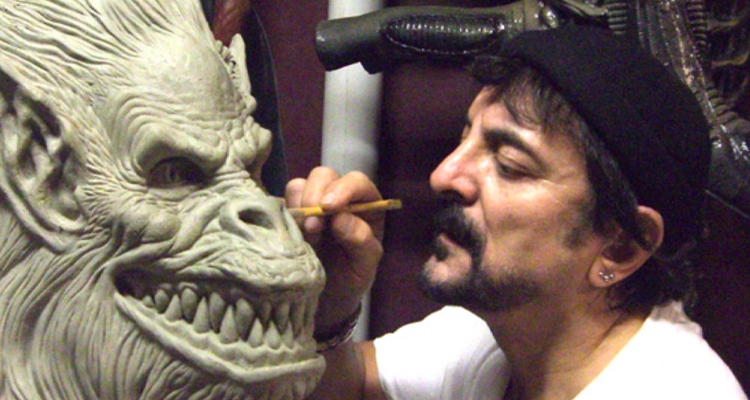 Tom Savini working on a sculpture. Still from Smoke and Mirrors documentary.